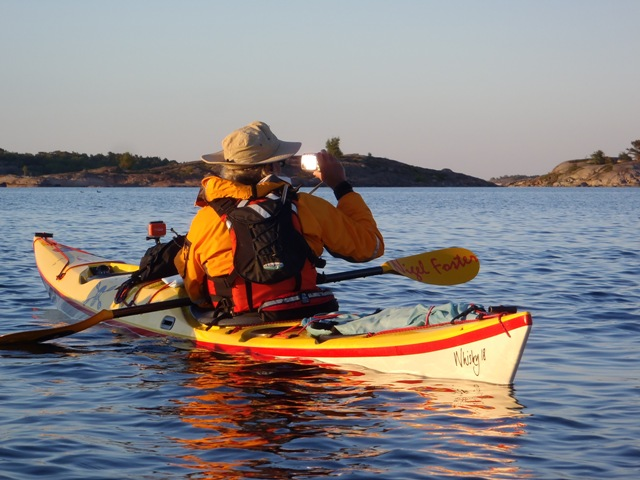 Russell Farrow of Sweetwater Kayaks paddles Whisky18 in Aland