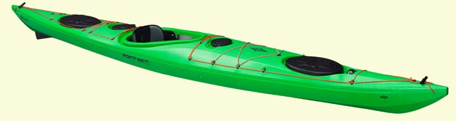 Angled view of Whisky 16 Tourer kayak in lime