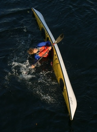 Nigel Foster shows high brace in  his Seaward Kayaks Legend sea kayak